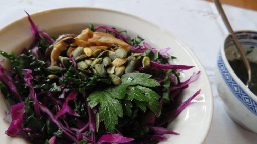 min-diaetists-salat-af-roed-spidskaal-og-palmekaal-med-ristede-kejserhatte-og-graeskarkerner-thumbnail